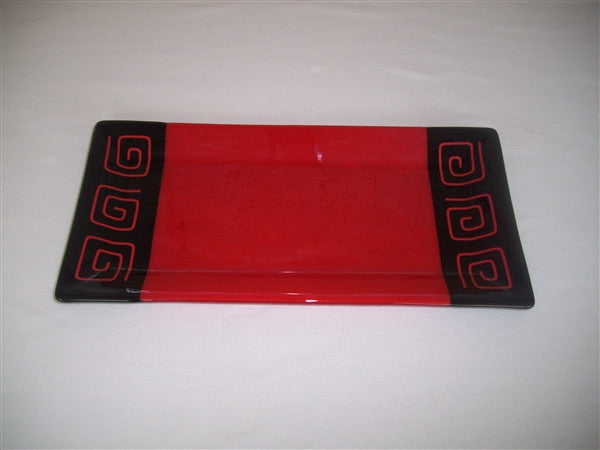 Rectangular Plate - Pinwheel Bands - Red Opal Ink