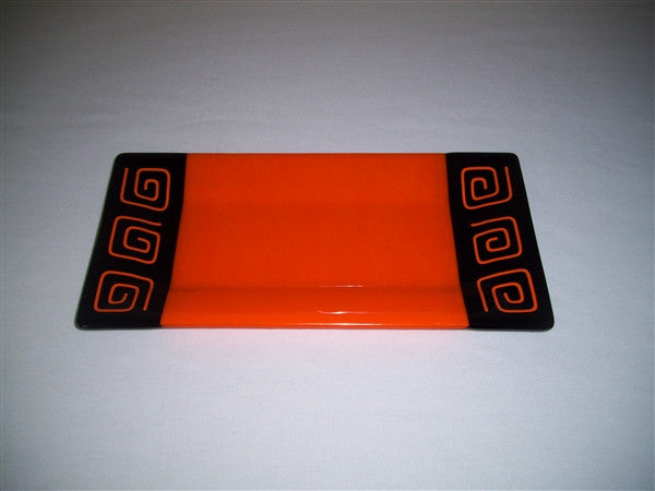 Rectangular Plate - Pinwheel Bands - Orange Opal Ink