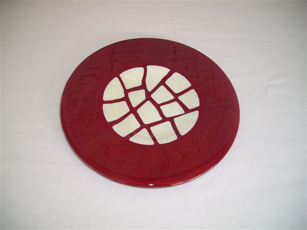 Round Plate - Stepping Stones - Deep Red Vanilla