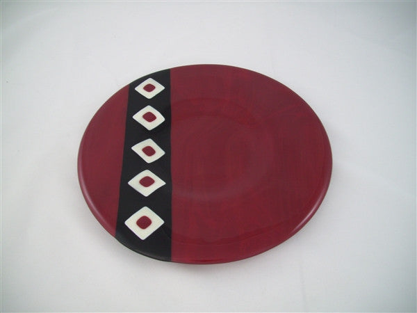 Round Plate - Twin Diamond Peaks - Deep Red Trio