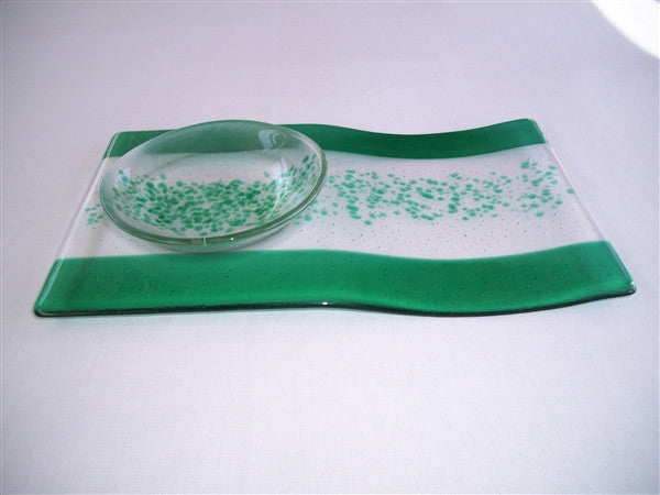 Serving Platter & Bowl - Bands & Sprinkles - Pure Emerald