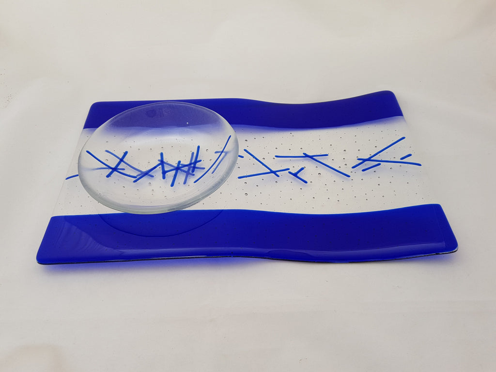 Serving Platter & Bowl - Bands & Stix - Pure Deep Blue