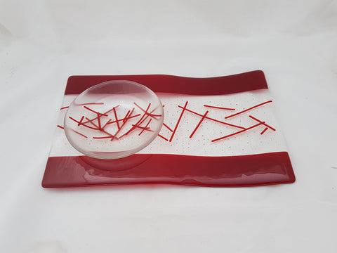 Serving Platter & Bowl - Bands & Stix - Pure Red