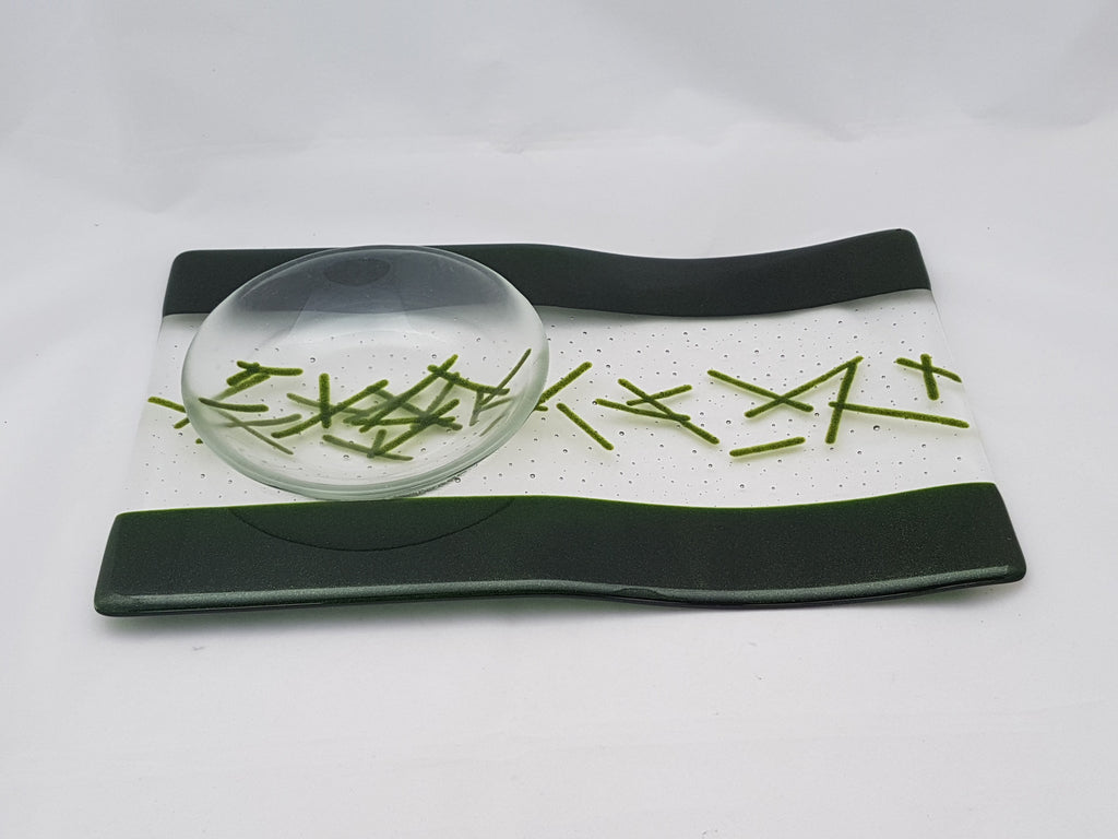 Serving Platter & Bowl - Bands & Stix - Pure Light Aventurine Green