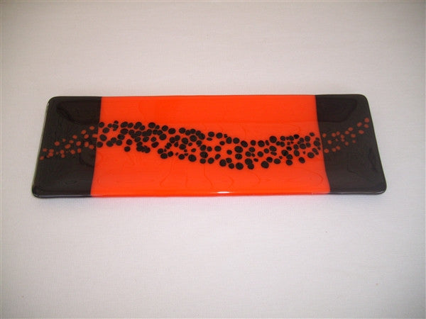 Shallow Rectangular Plate - 105 - Changing Breeze - Orange Opal Ink