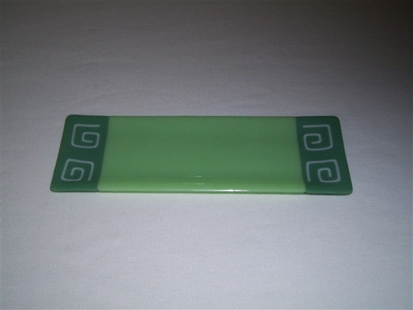 Shallow Rectangular Plate - 105 - Pinwheel Bands - Mint Trio