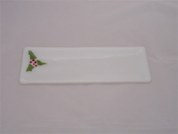 Shallow Rectangular Plate - 105 - Christmas Holly - Snow