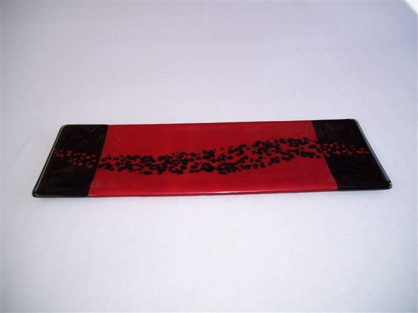 Shallow Rectangular Plate - 130 - Changing Breeze - Red Opal Ink