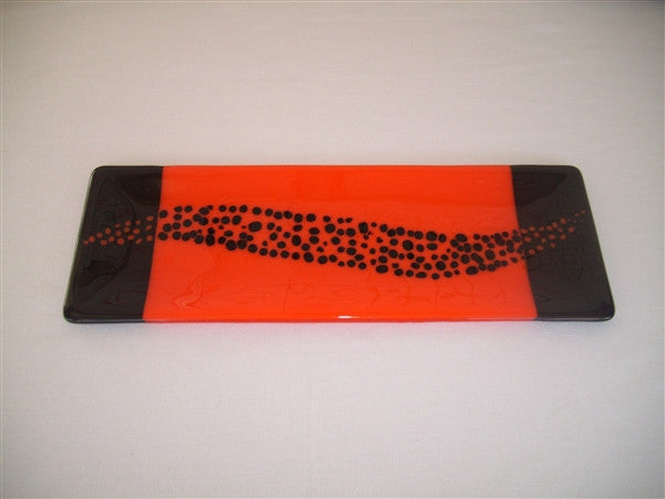Shallow Rectangular Plate - 130 - Changing Breeze - Orange Opal Ink