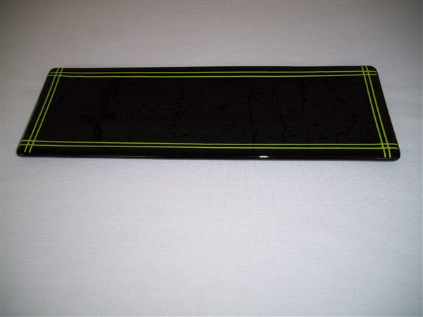 Shallow Rectangular Plate - 130 - Pinstripe Border - Inky Spring Opal