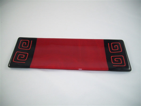 Shallow Rectangular Plate - 130 - Pinwheel Bands - Red Opal Ink