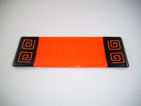 Shallow Rectangular Plate - 130 - Pinwheel Bands - Orange Opal Ink