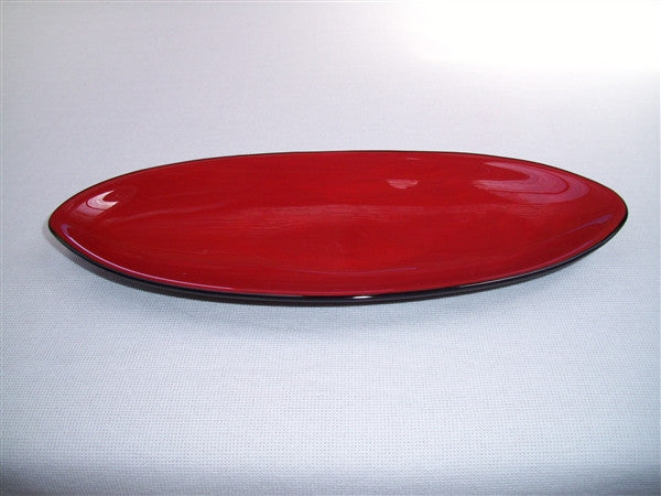 Short Oval Dish - Double Delight - Red Opal Ink