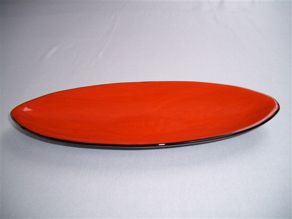 Short Oval Dish - Double Delight - Orange Opal Ink