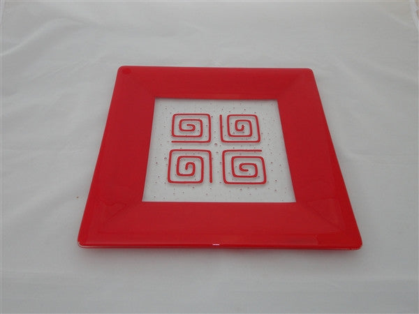 Square Plate - 300 - Framed Pinwheels - Pure Red Opal