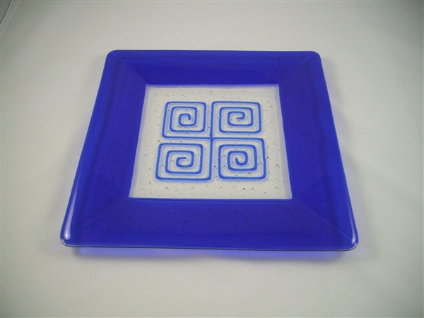 Square Plate - 300 - Framed Pinwheels - Pure Deep Blue