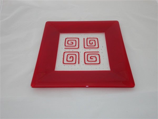 Square Plate - 300 - Framed Pinwheels - Pure Red