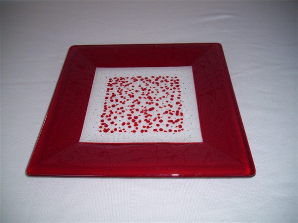 Square Plate - 300 - Framed Sprinkles - Pure Red