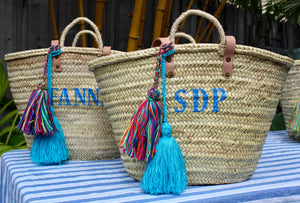 Monogram Straw Bag with Tassels