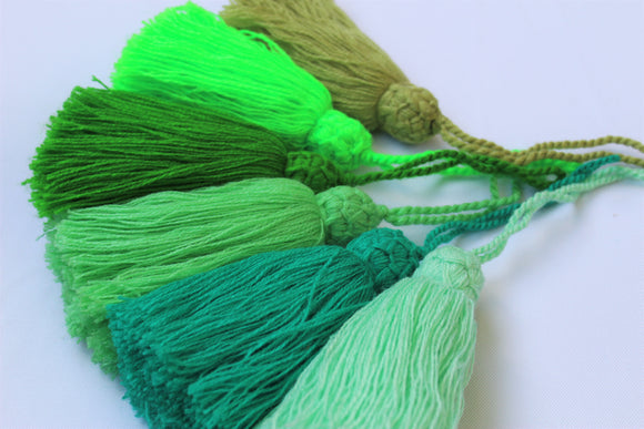 Set of 2 Green Tassels, large Mala Tassels
