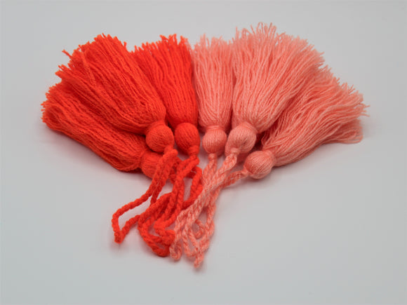 Coral and Orange Tassels, Set of 4