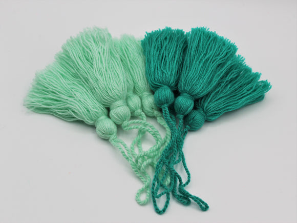 Turquoise and Mint Tassels, Set of 4