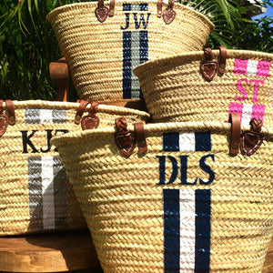 "Stripe Monogram Straw Bag ""The OG"""