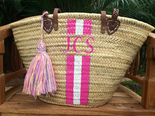 monogrammed bag personalized straw bag customized. Black Bedroom Furniture Sets. Home Design Ideas