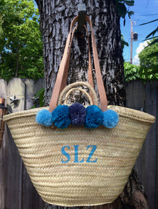 Monogram Straw Bag with Pom Poms