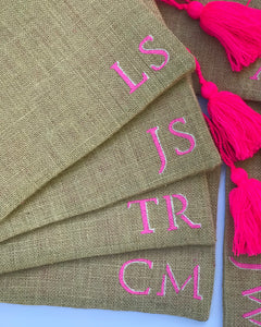 Monogrammed jute pouch, personalized clutch, customized  jute clutch
