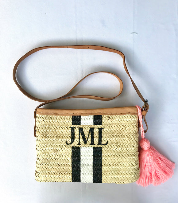 Monogrammed straw clutch (XL), large personalized pouch, cross bag