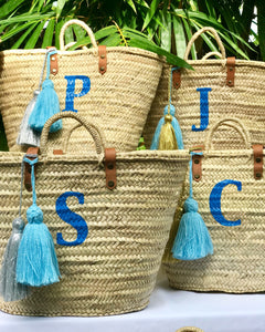 Initial Monogrammed Straw Bag with Tassels