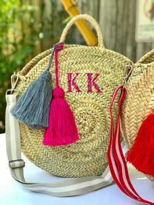 Personalized Round Straw Bag with Tassels (medium)