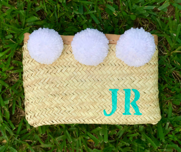 Pom pom straw clutch, Personalized clutch