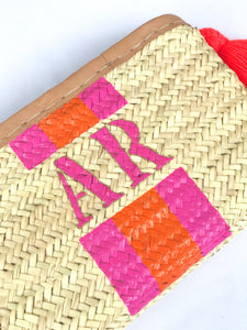 Monogram straw clutch, personalized clutch