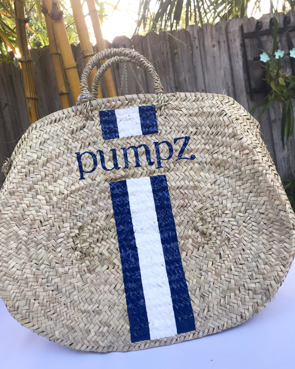 Monogrammed Oval straw bag with racing stripes