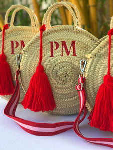 "Personalized round straw bag with tassel (small size 12"" diameter), round straw bag"