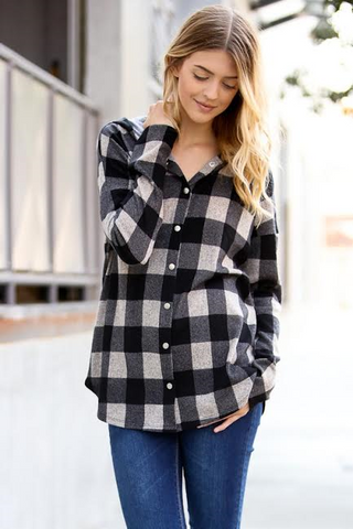 Afternoon Hike Taupe Plaid Button Top