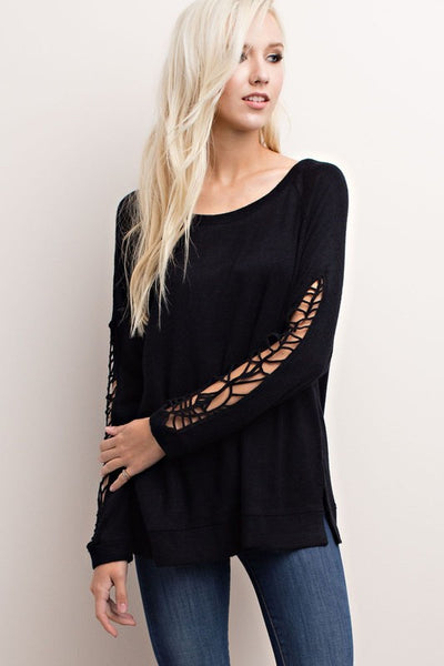 Name the Day Black Crochet Sweater