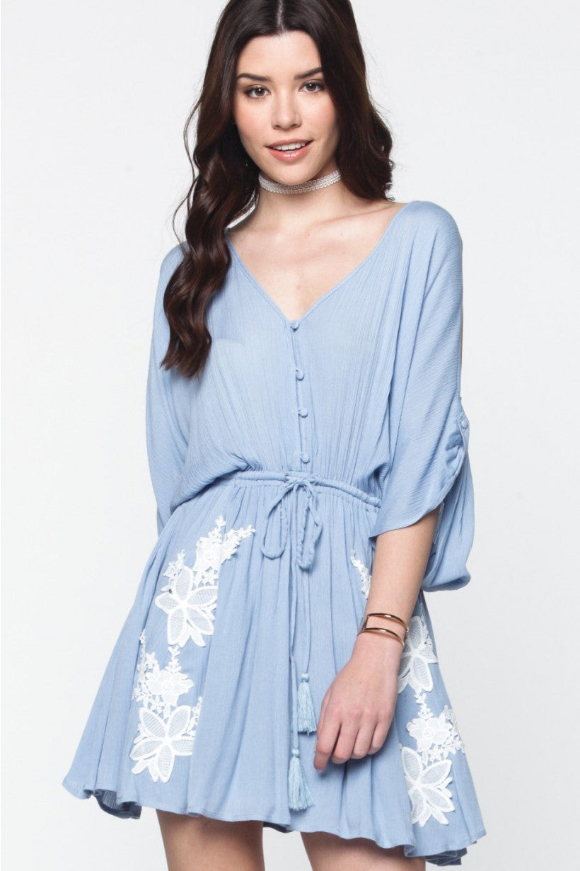 Whispering Winds Blue Embroidered Dress