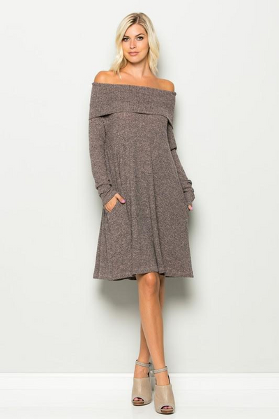 Simpli-City Taupe Ribbed Dress