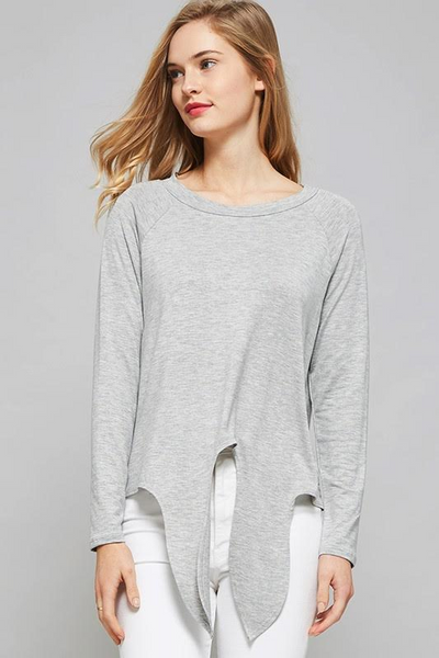 Basic Principle Front Tie Top - Light Gray