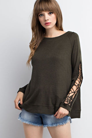 Name the Day Olive Crochet Sweater