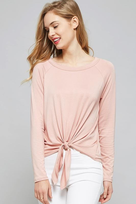 Basic Principle Front Tie Top - Dusty Pink