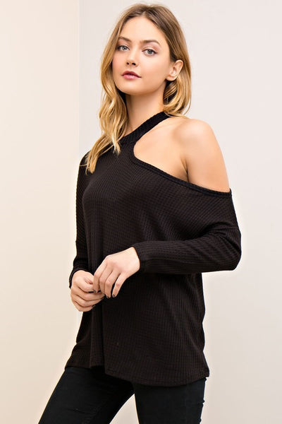 All I Half Black One Shoulder Top