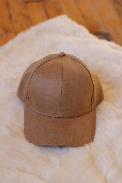 Swift and Sure Beige Suede Baseball Cap