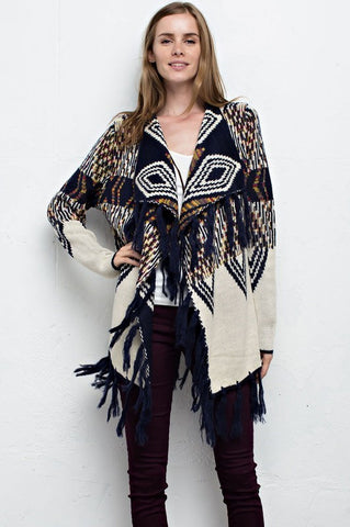 Comin' Up Cozy Tassel Tribal Cardigan