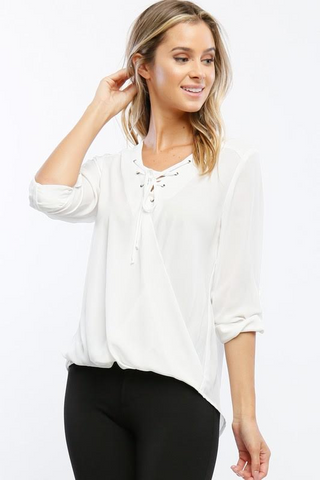 You Know It Ivory Lace-Up Top