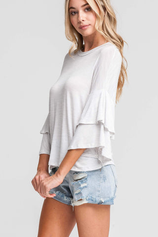 Anything is Possible Ruffle Top - White/Gray