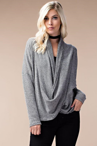 Consideration Two Toned Gray Wrap Sweater
